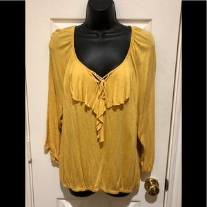⭐️NWOT⭐️AWESOME Golden Lace Up Front Top
